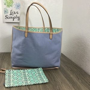 Stella & Dot Reversible Voyage Tote Chambray/Mint